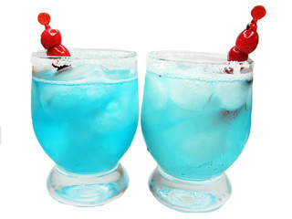 alcohol blue cocktail drinks with cherry