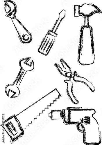 Sketch style hand tools collections.