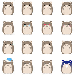 Cute hamster emotional icons
