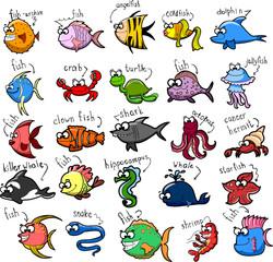 Большой набор мультфильм рыбы