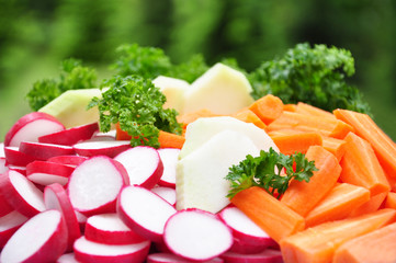 Frisches geschnittenes Gemüse