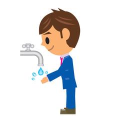ビジネスマン イラスト 手洗い