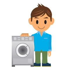 ビジネスマン イラスト 洗濯機