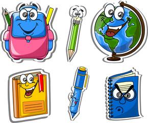 Мультфильм школьные сумки, карандаши, книги, ручки, миру