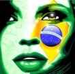 Ritratto Ragazza Bandiera Brasile-Brazil Flag Girl's Portrait