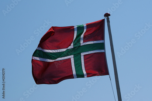 The flag of Bornholm (small island the baltic sea)