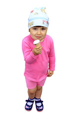 little girl eating  ice cream isolated