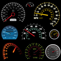 Set of car speedometers