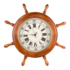 A photo of a captains wheel clock