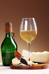 Wine and fresh cheese