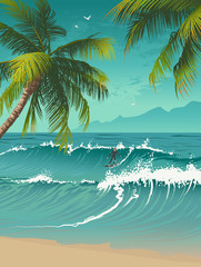 Tropical background with a surfer and palm trees