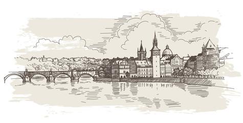 Panorama of Prague. View of Charles Bridge and the Vltava river.