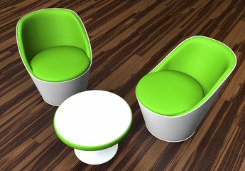 Moderne Sitzgruppe Grün auf Holzboden von Oben