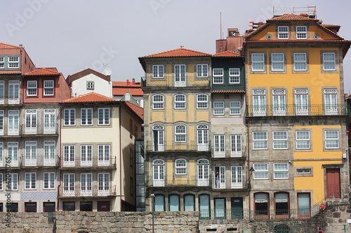 Facades of the  old houses in the town Porto. Portugal