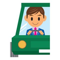 ビジネスマン イラスト 運転 ドライブ