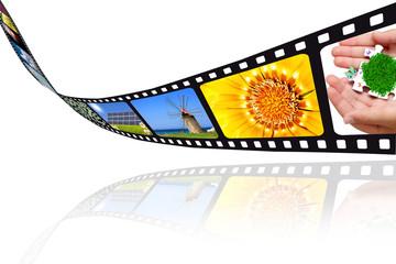 Pellicola film su sfondo bianco