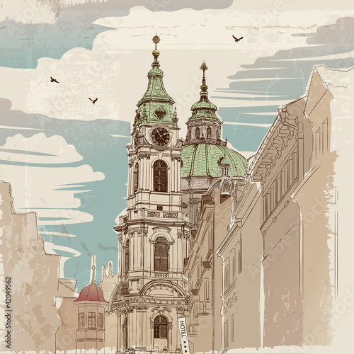 Vector sketch of Saint Nicholas Cathedral in Prague - 42049562