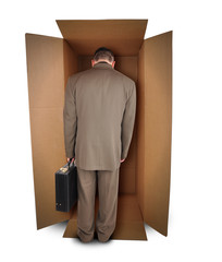 Business Man Unhappy Job in Box