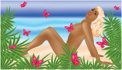 Naked  blonde girl on a beach. vector illustration