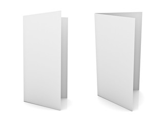 Blank brochure or flyer on white background with reflection