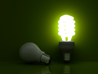 Energy saving light bulb vs. incandescent