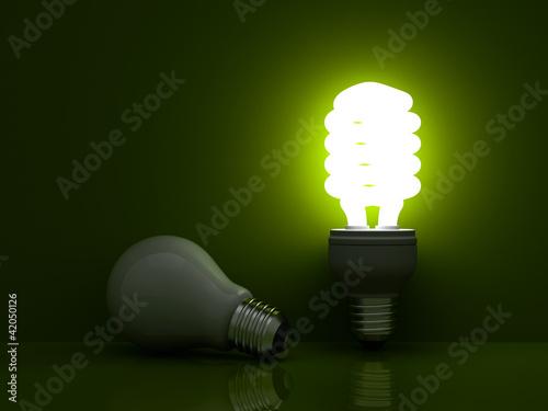 Energy saving light bulb vs. incandescent