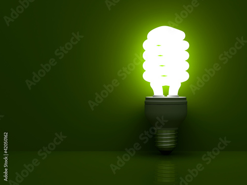Energy saving light bulb glowing on green