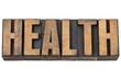 health word in letterpress wood type