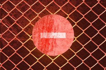 sign on Chain link abstract background