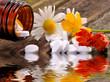 Schüsslersalze und Kamille Alternativmedizin in Wasser aufgelöst