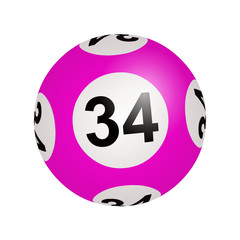 Tirage loto, boule numéro 34