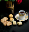 Oriental cookies and cup of tea