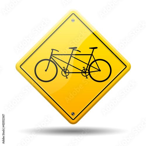 Señal amarilla simbolo tandem