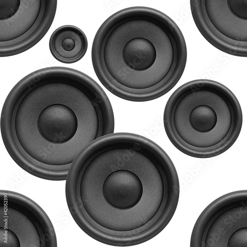 Music background, audio speakers seamless pattern on white