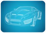 Sports car blueprint. Non branded concept car.