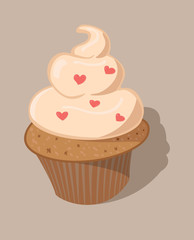 Kremalı Kalpli Ufak Kek