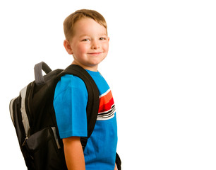 Happy child wearing backpack education concept