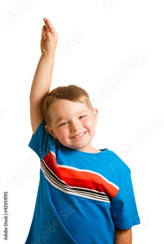 Education concept with child raising his hand
