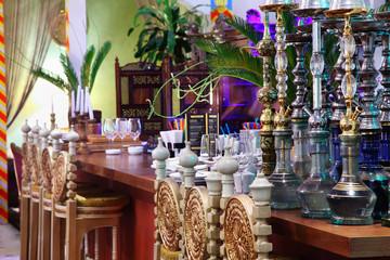 hookahs in eastern luxury restaurant