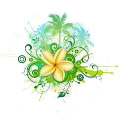Palms, plumeria flower, abstract floral design