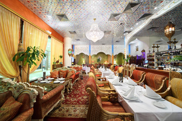 eastern interior of luxury restaurant