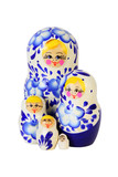 Five blue painted Russian matryoshkas isolated on white