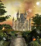 Fototapety Castle in an enchanted garden