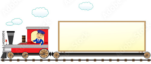 cartoon isolated train with conductor and space for text
