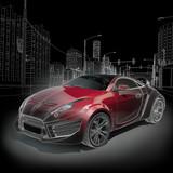 Sports car blueprint. Original car design.-