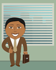 smile afroamerican businessman in office and showing thumb up