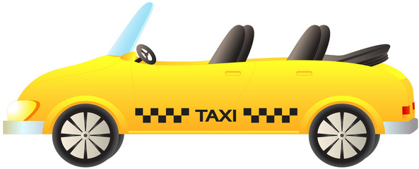 cute cartoon isolated taxi car cabriolet on white background
