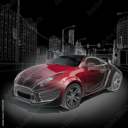 Fototapeten,sports car,blueprint,draht,wireframe
