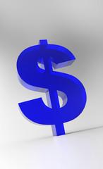 Big Dollar Symbol - Blue Glas