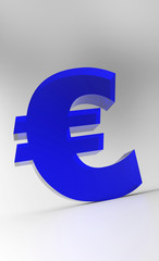 Big Euro Symbol - Blue Glas